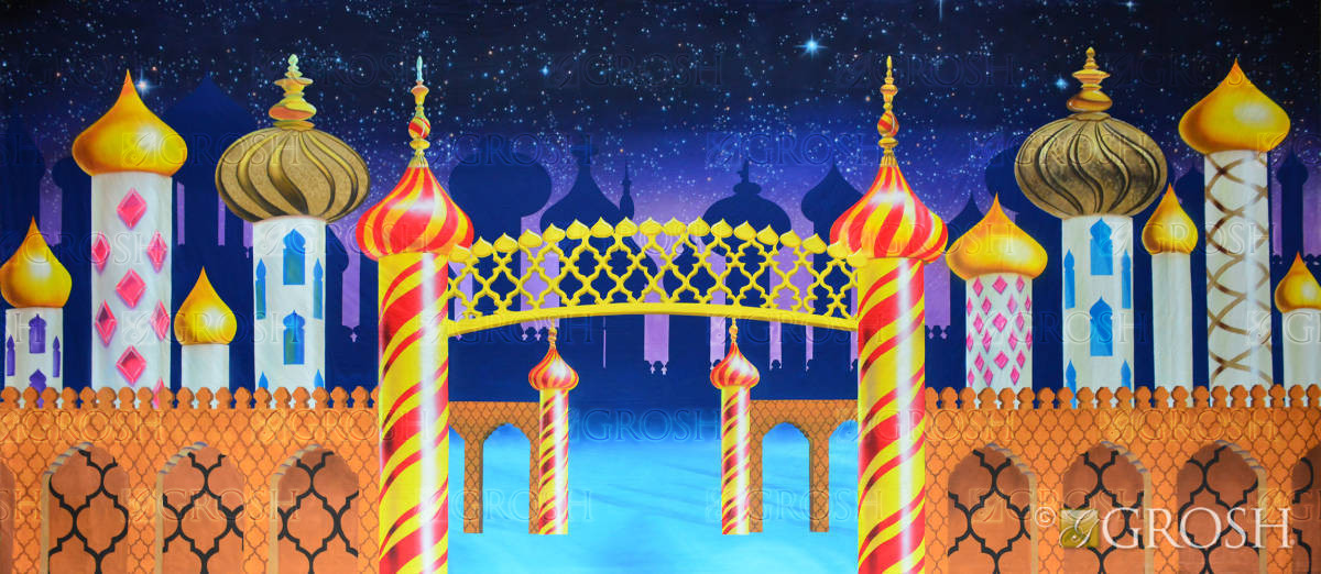 Aladdin school play backdrop of Arabian Palace at night