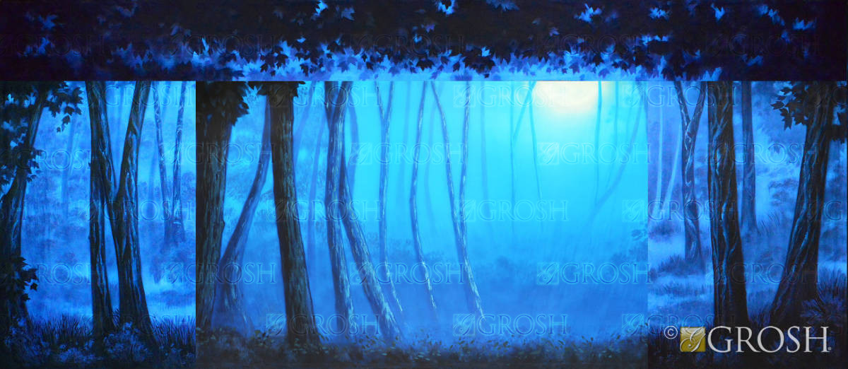 Scary Blue Night Forest backdtop for Addams Family, Snow White, Cinderella, Beauty and the Beast play