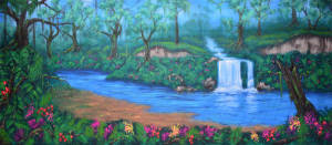 Jungle Oasis backdrop for The Jungle Book, Madagascar, Tarzan, and The Lion King plays and productions