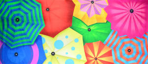 Colorful Umbrella backdrop used in dance recitals and events