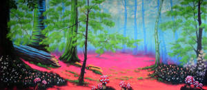 Enchanted Forest Backdrop for the Alice in Wonderland Play. Also used in: Beauty and the Beast. Flower Drum Song. Snow White. Hansel and Gretel.