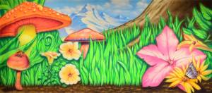 Thumbelina Mushroom Backdrop for the Alice in Wonderland Plays.