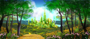 Oz Emerald City backdrop for The Wizard of Oz production