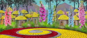 Adorable Munchkinland backdrop for productions of The Wizard of Oz
