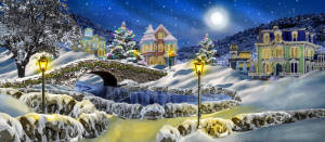 Snow Village with Bridge backdrop for Christmas Carol, Scrooge , Nutcracker, Santa Claus and holiday events