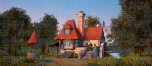 Grosh Digital Projection of a cottage is used in productions of Beauty and the Beast