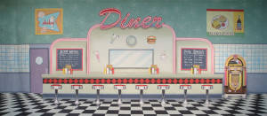 50's Interior Diner 1 Backdrop