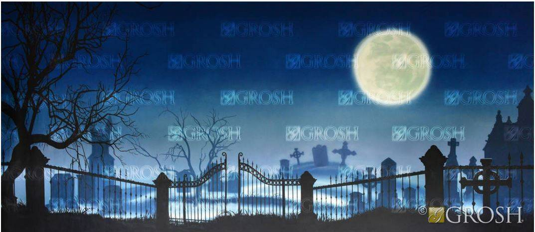 Addams Family Graveyard with Full Moon Backdrop