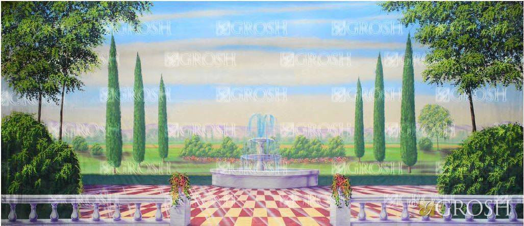 Alice in Wonderland Garden with Checkered Floor Backdrop