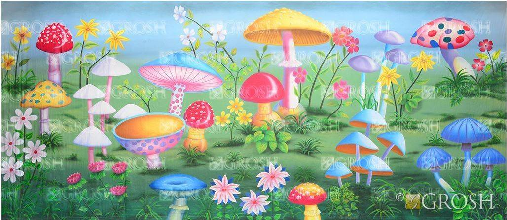 Alice in Wonderland Giant Mushroom Backdrop