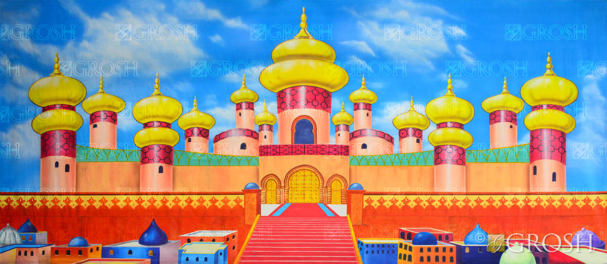Golden Palace exterior backdrop for Aladdin school plays