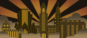 Art Deco City backdrop for Art Deco, The Great Gatsby, 1920's, Thoroughly Modern Millie plays and productions