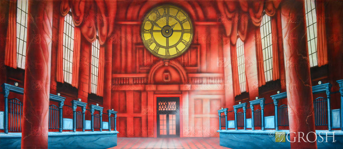Catch Me If You Can bank scene stage backdrop Gringotts Bank Backdrop for Harry Potter play