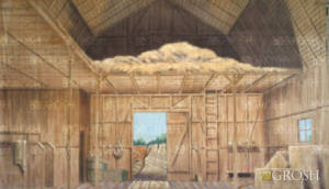 Barn Interior theatrical backdrop rental for Anne of Green Gables, Last Train to Nibroc, Charlotte's Web, Whistle Down The Wind, Honk, The Wiz, Wizard of Oz, Beatrix Potter theme, Rural Farm, Oklahoma plays and productions