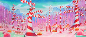 Charlie and the Chocolate Factory Candy Cane Forest stage backdrop
