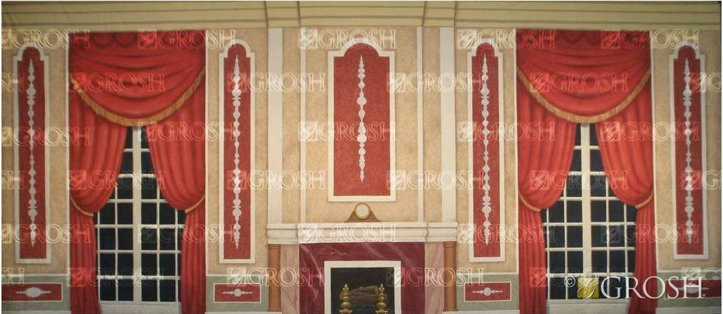 Nutcracker Red Victorian Parlor Backdrop