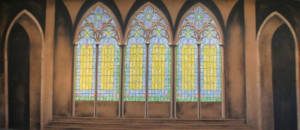 Stained Glass Church Interior Backdrop