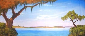 Bayou Landscape backdrop for Southern, Tom Sawyer, Showboat, New Orleans, water, river, Honk, Princess and the Frog, swamp, bayou, south, Little Mermaid, Huckleberry Finn plays and productions