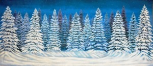 Night Snow Forest Backdrop