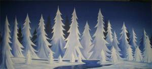 Stylized Night Snow Landscape from Grosh Backdrop Rentals is ideal for productions of Roudolph, Christmas Carol, Frozen, Scrooge, Clara's Gift