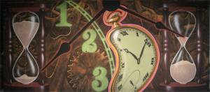 White Rabbit's Clock Montage Backdrop for the Alice in Wonderland Play