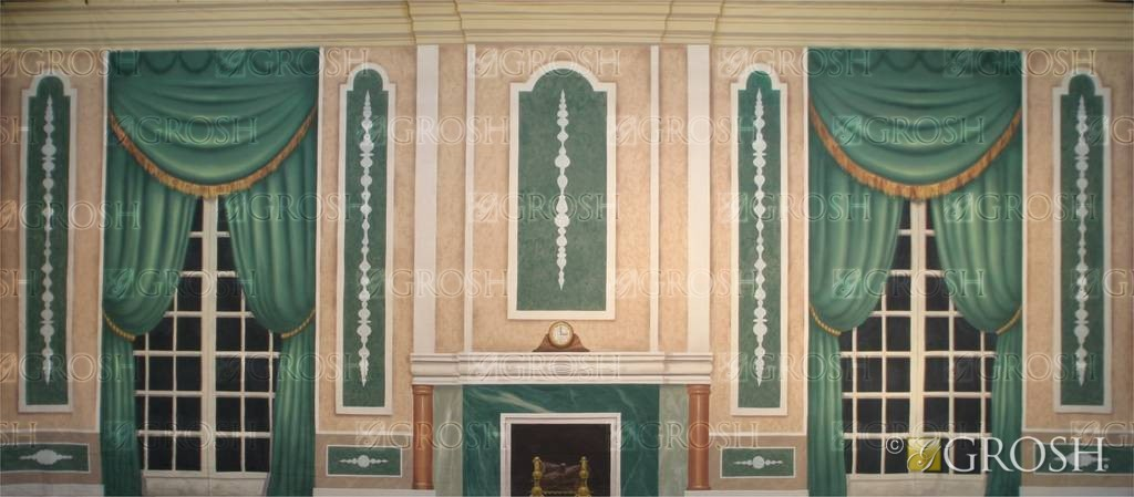 Green Victorian Parlor Backdrop