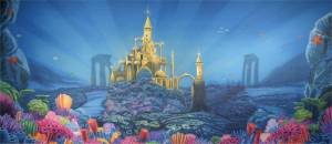Ariel's Mermaid Castle stage backdrop for underwater fantasy