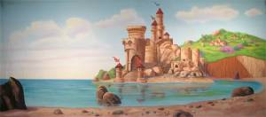 Beach Castle backdrop for The Little Mermaid play