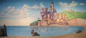 Fairytale Castle on the Beach Little Mermaid backdrop
