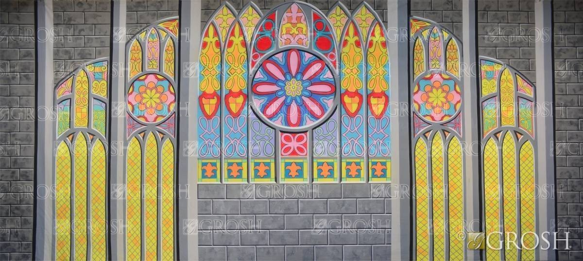 Sound of Music Stained Glass Church Interior Backdrop for school play