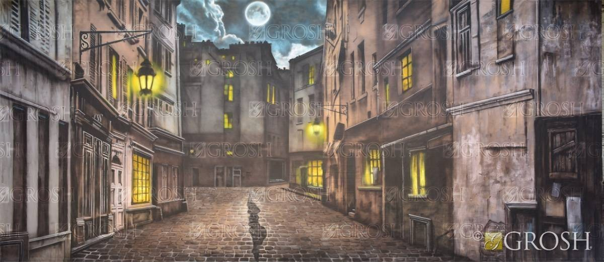 European Street backdrop for Mary Poppins, Les Miserables, Oliver, and other school plays