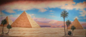 Egyptian Landscape with Pyramids Backdrop