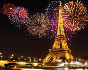 Eiffel Tower with Fireworks Pop-Up Drop Backdrop