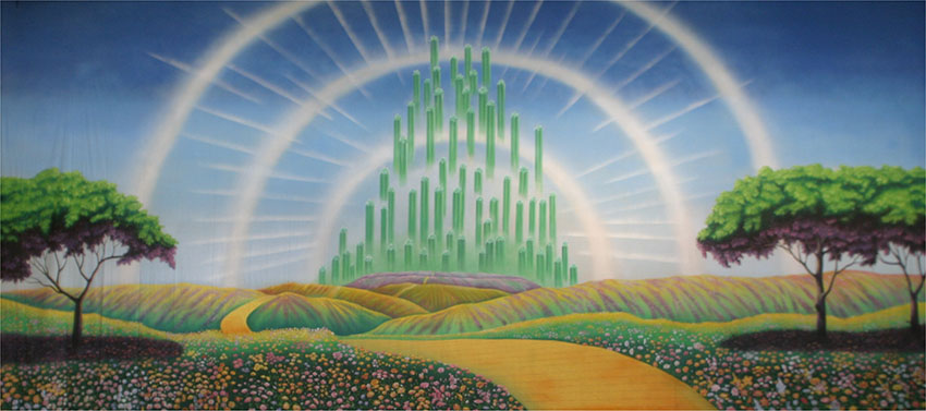 Emerald city with yellow brick road backdrop s2559 for Emerald city nickname