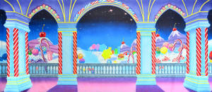 Bright backdrop with candy for Nutcracker performance
