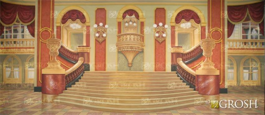 Elegant Grand Ballroom Stage Backdrop for Annie, Nutcracker, and Swan Lake plays