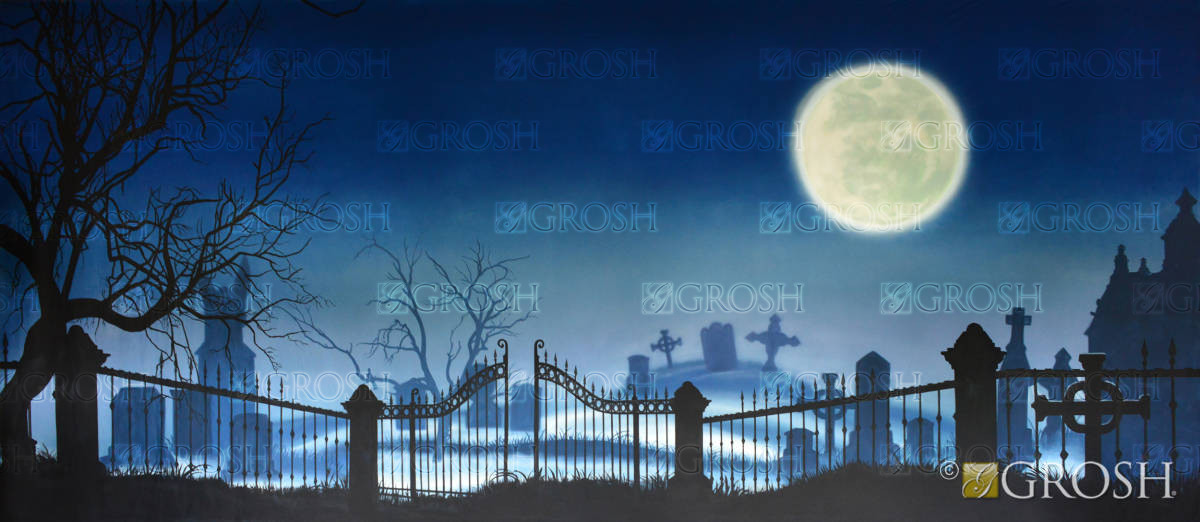 Addams Family Graveyard backdrop with Full Moon for plays and productions