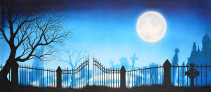 Hamlet and Macbeth Graveyard with Full Moon theatrical backdrop