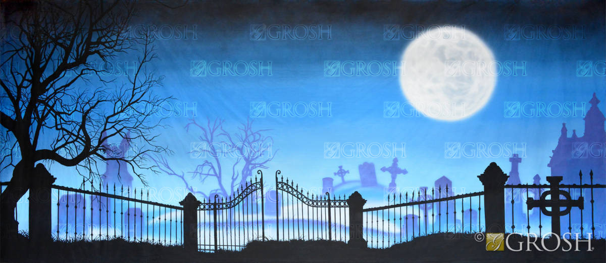 Graveyard with full moon backdrop