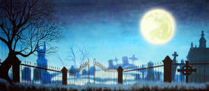 Graveyard with Full Moon stage backdrop for Young Frankenstein school plays
