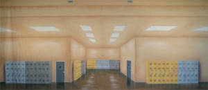 Hallway with Lockers Backdrop