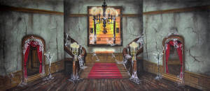 Haunted Mansion Interior theatrical backdrop rental for Legend of Sleepy Hollow, Addams Family and Coppellia plays