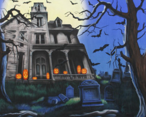 Haunted House Pop-Up Drop Backdrop