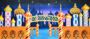 Kingdom of Sweets backdrop for Nutcracker plays