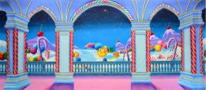 Candyland stage backdrop for the Nutcracker