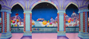 Lollipop road backdrop for Nutcracker production