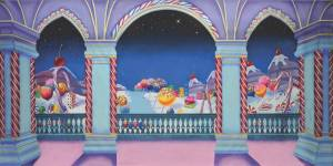 Crazy candy land backdrop for Charlie and the Chocolate factory