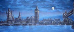 London Skyline at night stage backdrop for Oliver plays and Jekyll and Hyde productions