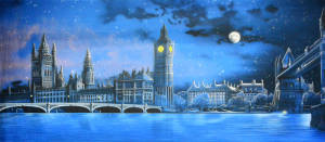 Beautiful backdrop of London Skyline at night used for Mary Poppins and Peter Pan plays