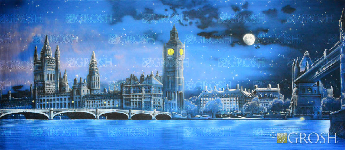 london skyline at night backdrop - es8040